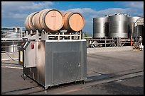 Wine processing equipment, Artesa Winery. Napa Valley, California, USA (color)