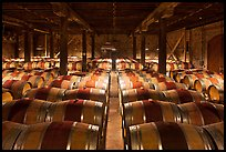 Wine cellar, Hess Collection winery. Napa Valley, California, USA (color)