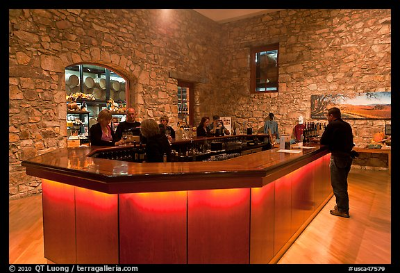 Wine tasting room, Hess Collection winery. Napa Valley, California, USA (color)
