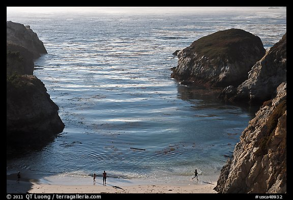 China Cove with people from above. Point Lobos State Preserve, California, USA (color)