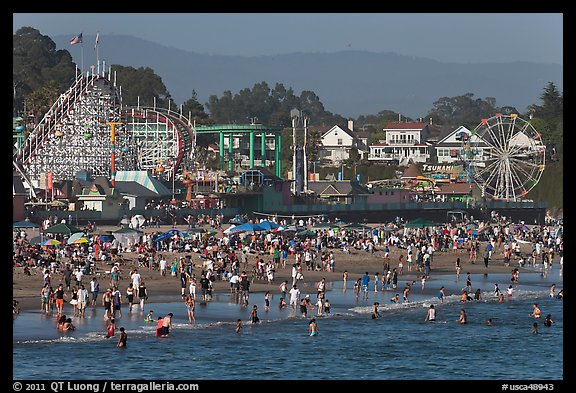 Crowded beach scene. Santa Cruz, California, USA (color)