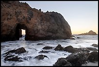 Pfeiffer Beach arch at sunset. Big Sur, California, USA ( color)