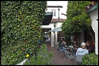 Cafe terrace in alley. Carmel-by-the-Sea, California, USA (color)
