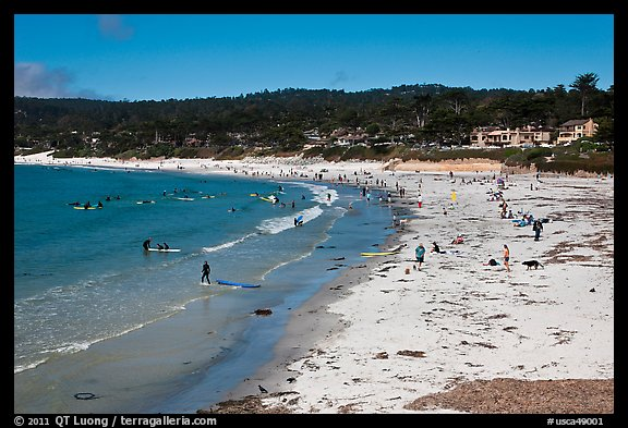 Beachgoers On Carmel Beach By The Sea California Usa