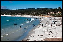 Beachgoers on Carmel Beach. Carmel-by-the-Sea, California, USA ( color)