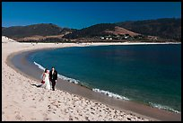 Groom and bride, Carmel River Beach. Carmel-by-the-Sea, California, USA ( color)