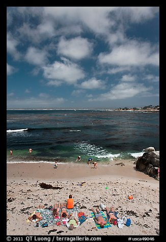 People sunning themselves on beach. Pacific Grove, California, USA (color)