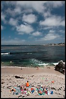 People sunning themselves on beach. Pacific Grove, California, USA ( color)
