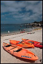 Sea kayaks on beach, Lovers Point. Pacific Grove, California, USA ( color)