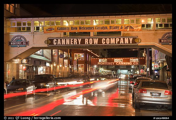 Cannery Row on a rainy night. Monterey, California, USA (color)