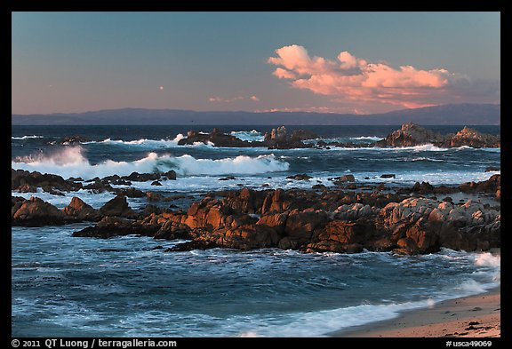 Surf and rocks at sunset, Monterey Bay. Pacific Grove, California, USA (color)