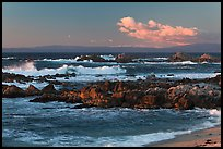 Surf and rocks at sunset, Monterey Bay. Pacific Grove, California, USA ( color)