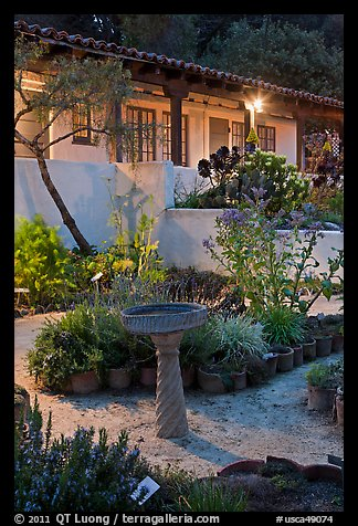 Heritage garden at night. Monterey, California, USA (color)