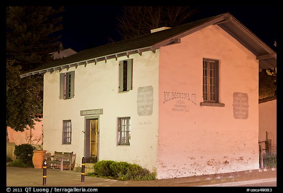 Casa del Oro store house at night. Monterey, California, USA (color)