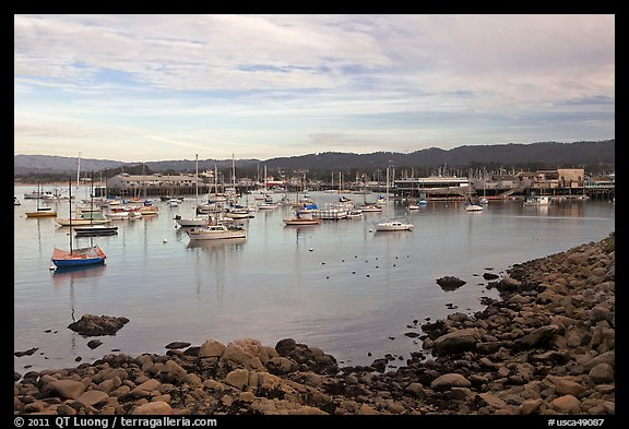 Harbor and Fishermans Wharf, late afternoon. Monterey, California, USA (color)
