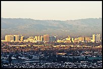 City skyline and Santa Cruz Mountain, early morning. San Jose, California, USA
