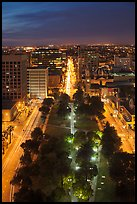 Cesar Chavez park from above at night. San Jose, California, USA ( color)