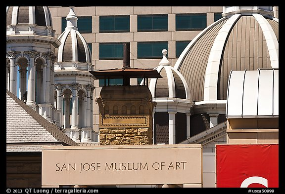 San Jose Museum of Art and St Joseph Basilica roof. San Jose, California, USA (color)