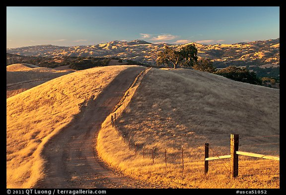 Path on crest of Evergreen Hills. San Jose, California, USA (color)