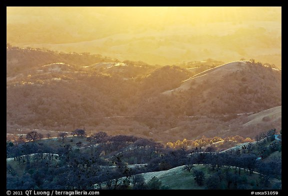 Hills and ridges at sunset. San Jose, California, USA (color)