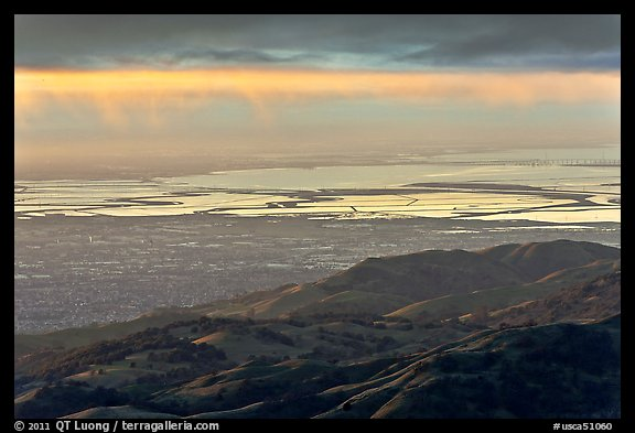 South Bay seen from Mount Hamilton at sunset. San Jose, California, USA (color)