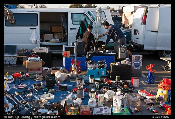 Vans and household items for sale, San Jose Flee Market. San Jose, California, USA (color)