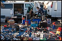 Vans and household items for sale, San Jose Flee Market. San Jose, California, USA ( color)