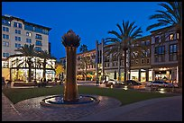 Park at dusk. Santana Row, San Jose, California, USA ( color)