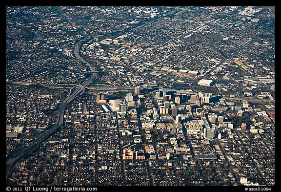 Aerial View of downtown and highways. San Jose, California, USA (color)