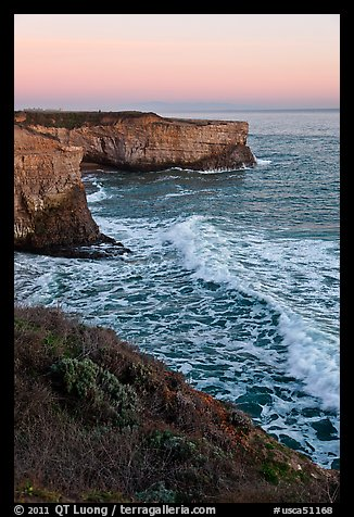Wave and sea  cliffs at sunset, Wilder Ranch State Park. California, USA (color)