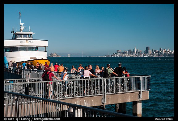 Arrival of San Francisco ferry, Sausalito. California, USA (color)