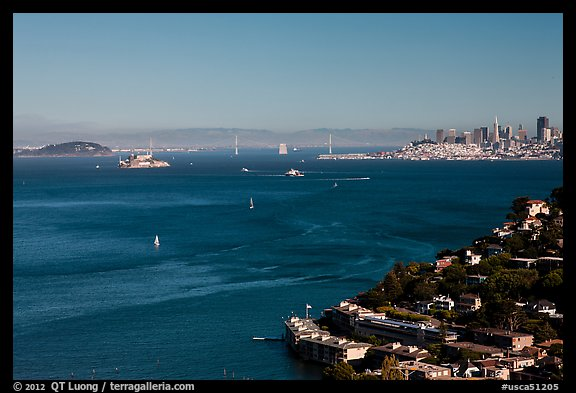 Bay seen from heights, Sausalito. California, USA