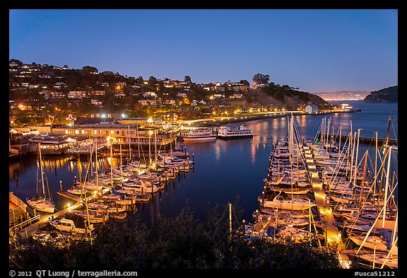 Belvedere Harbor at night. California, USA (color)