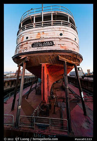 Boat on dry dock, Shipyard No 3, World War II Home Front National Historical Park. Richmond, California, USA (color)