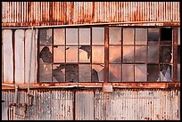 Broken windows, Shipyard No 3, World War II Home Front National Historical Park. Richmond, California, USA (color)