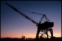 Crane at sunset, Shipyard No 3, Rosie the Riveter National Historical Park. Richmond, California, USA (color)