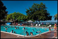 Public swimming pool, McNears Beach County Park. San Pablo Bay, California, USA (color)