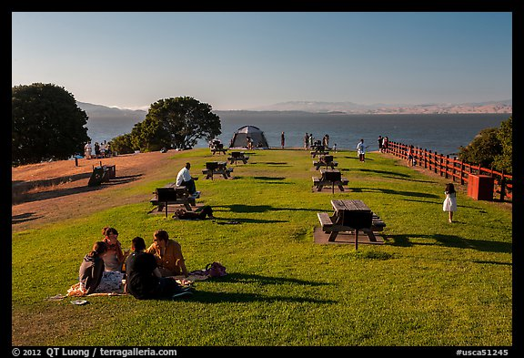 Grassy picnic area, China Camp State Park. San Pablo Bay, California, USA (color)