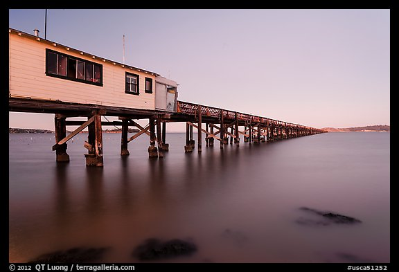 Long pier at sunset, San Pablo Bay. San Pablo Bay, California, USA (color)