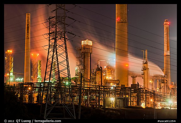 Shell Refinery by night. Martinez, California, USA (color)