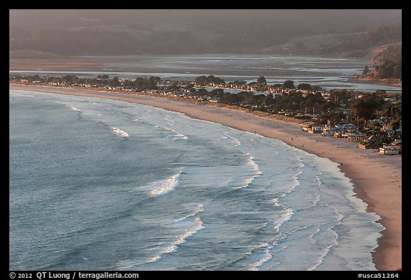 Surf, beach and town from above. California, USA (color)