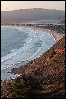 Stinson Beach from above at sunset. California, USA ( color)