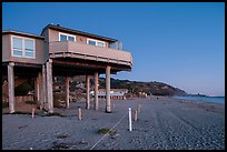 Beach house with high stilts, Stinson Beach. California, USA ( color)