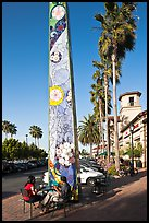 Decorated obelisk in shopping mall, Sunnyvale. California, USA (color)