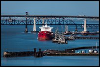 Pier, oil tanker, and Benicia-Martinez bridge. Martinez, California, USA ( color)