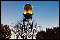 Campbell Water Tower at dusk, Campbell. California, USA (color)