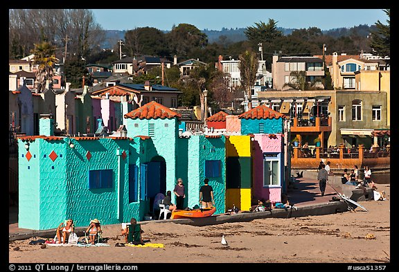 Beachfront with vividly painted cottages. Capitola, California, USA (color)