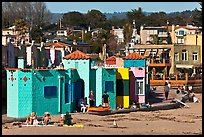 Beachfront with vividly painted cottages. Capitola, California, USA ( color)