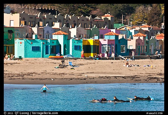 Beach And Venetian Hotel Cottages Capitola California Usa Color