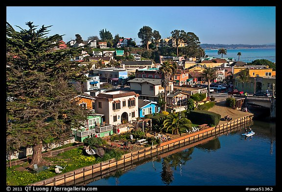 Houses bordering Soquel Creek from above. Capitola, California, USA (color)